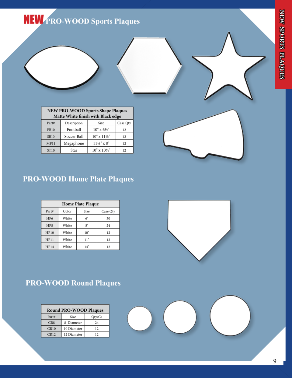 NEW SPORTS PLAQUES  NEW PRO-WOOD Sports Plaques  NEW PRO-WOOD Sports Shape Plaques Matte White finish with Black edge Part...