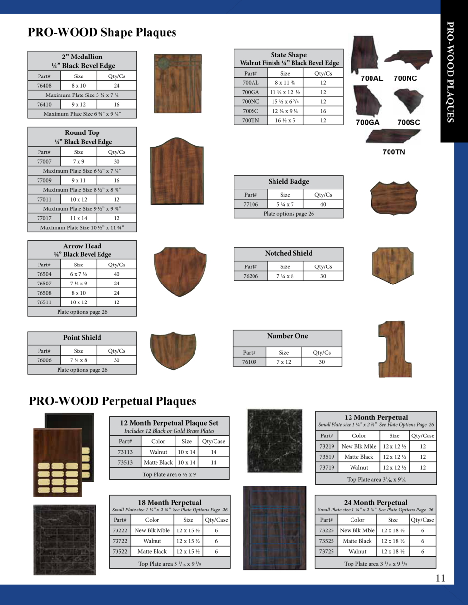 PRO-WOOD PLAQUES  PRO-WOOD Shape Plaques State Shape  2    Medallion       Black Bevel Edge  Walnut Finish       Black Bev...