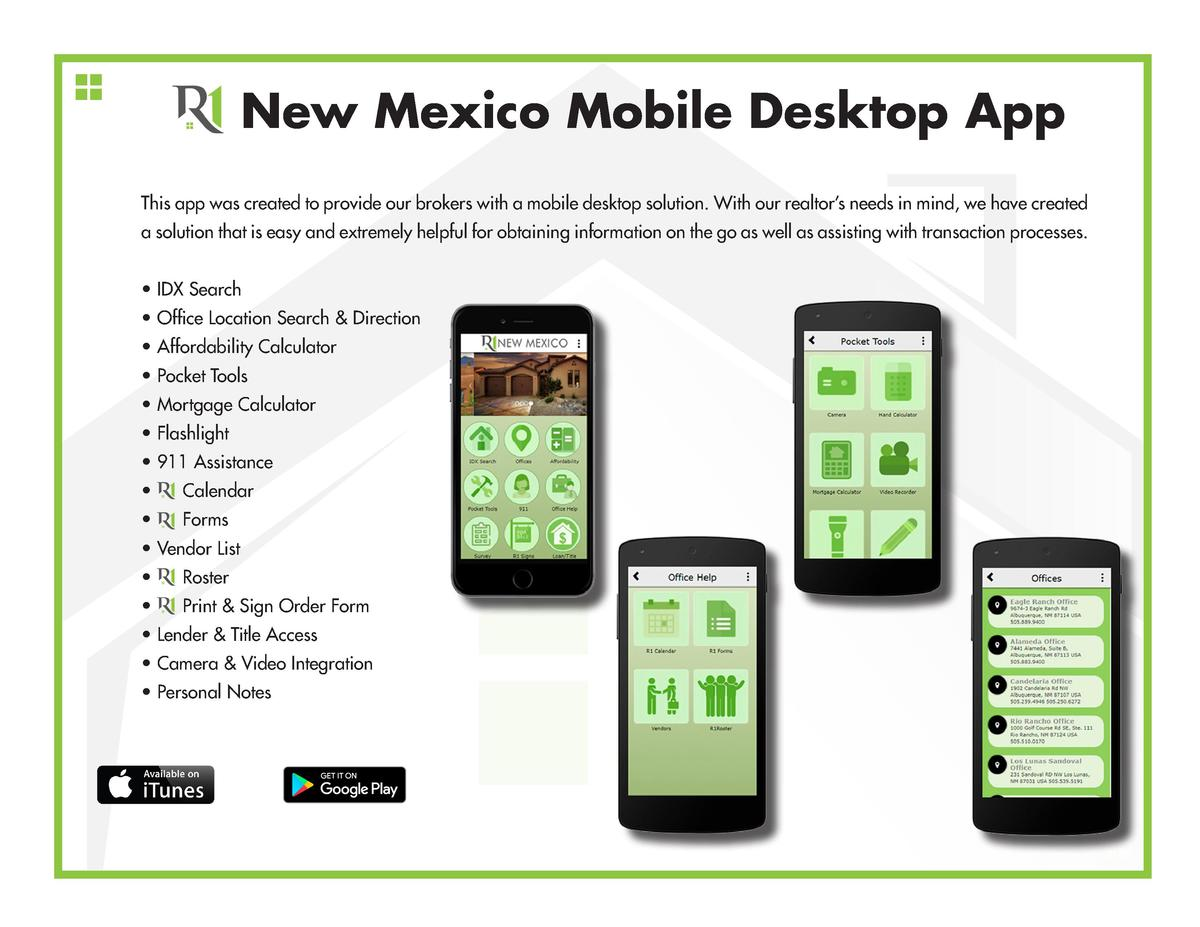 New Mexico Mobile Desktop App This app was created to provide our brokers with a mobile desktop solution. With our realtor...