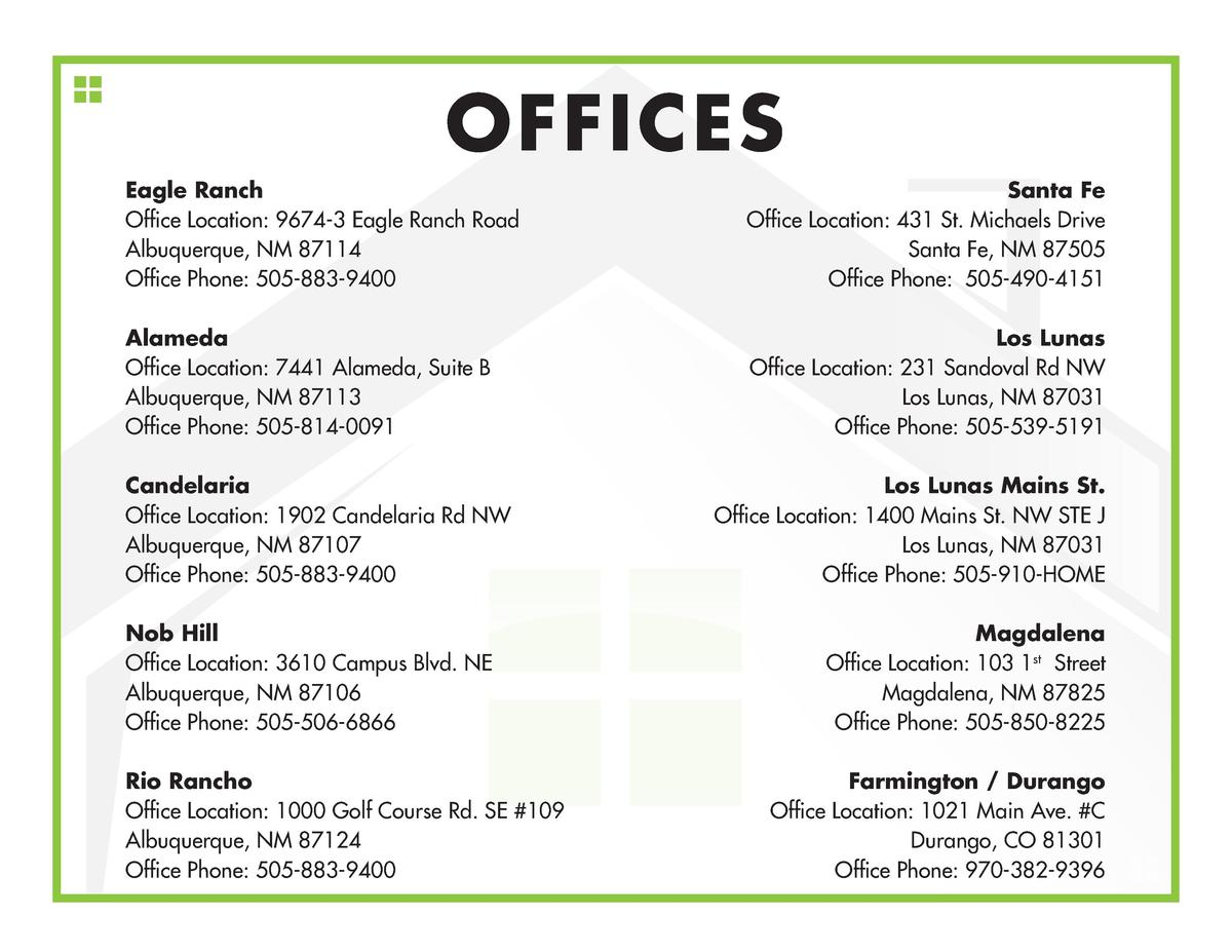 OFFICES Eagle Ranch Office Location  9674-3 Eagle Ranch Road Albuquerque, NM 87114 Office Phone  505-883-9400  Santa Fe Of...