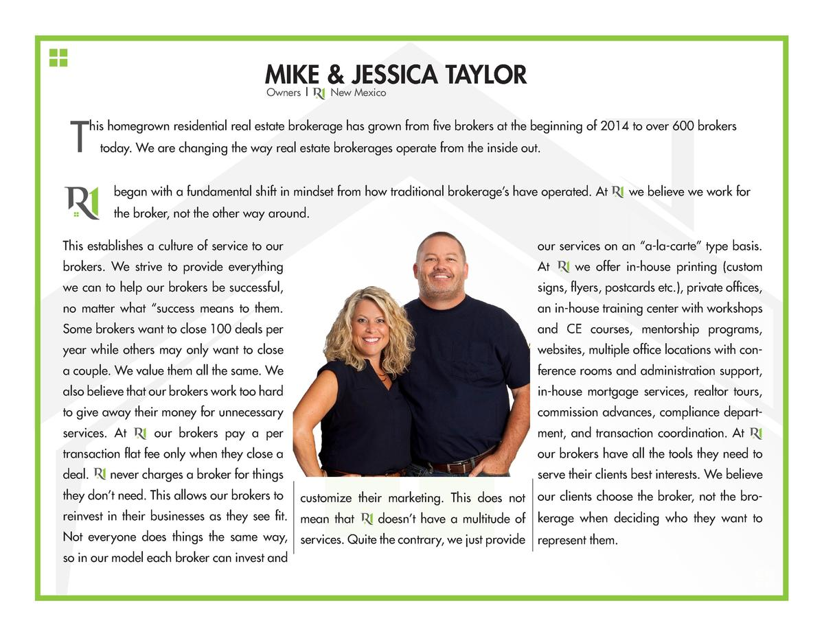 MIKE   JESSICA TAYLOR       Owners   New Mexico  T  his homegrown residential real estate brokerage has grown from f...