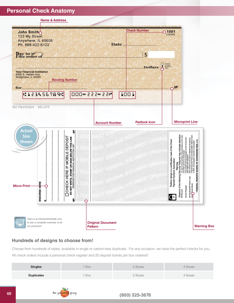 , Pink Safety 4 Box Duplicates Single /& Duplicate Options 400 Valued Price Safety Personal Checks