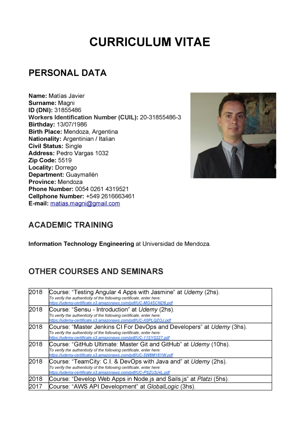 CURRICULUM VITAE PERSONAL DATA Name     Mat  as Javier Surname     Magni ID  DNI      31855486 Workers Identification Numb...