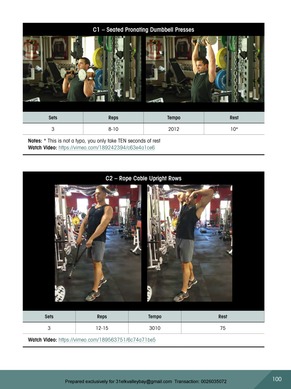 C1     Seated Pronating Dumbbell Presses  Sets  Reps  Tempo  Rest  3  8-10  2012  10   Notes    This is not a typo, you on...