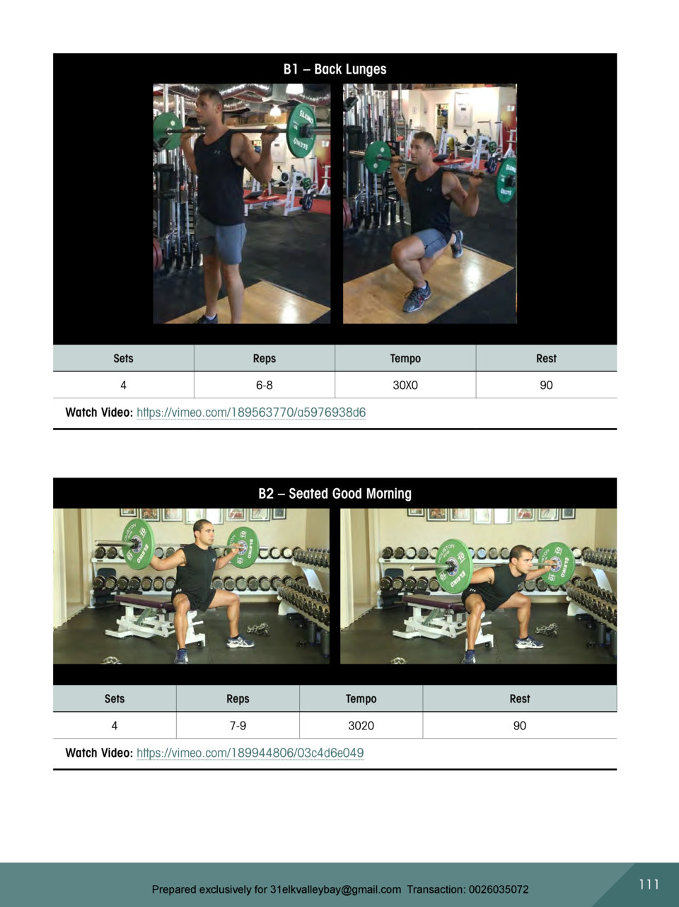 B1     Back Lunges  Sets  Reps  Tempo  Rest  4  6-8  30X0  90  Watch Video  https   vimeo.com 189563770 a5976938d6  B2    ...