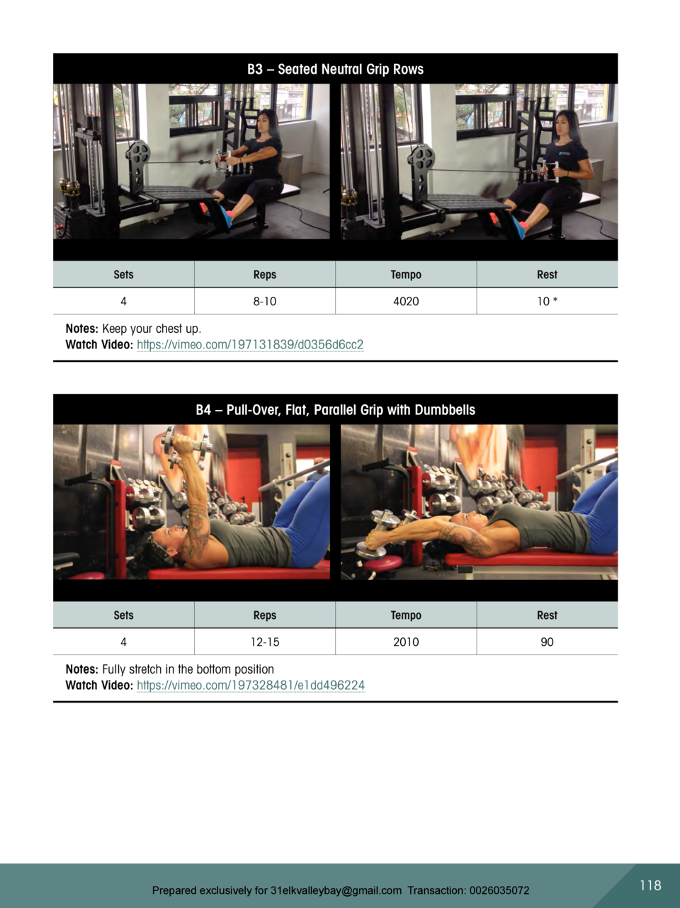 B3     Seated Neutral Grip Rows  Sets  Reps  Tempo  Rest  4  8-10  4020  10    Notes  Keep your chest up. Watch Video  htt...