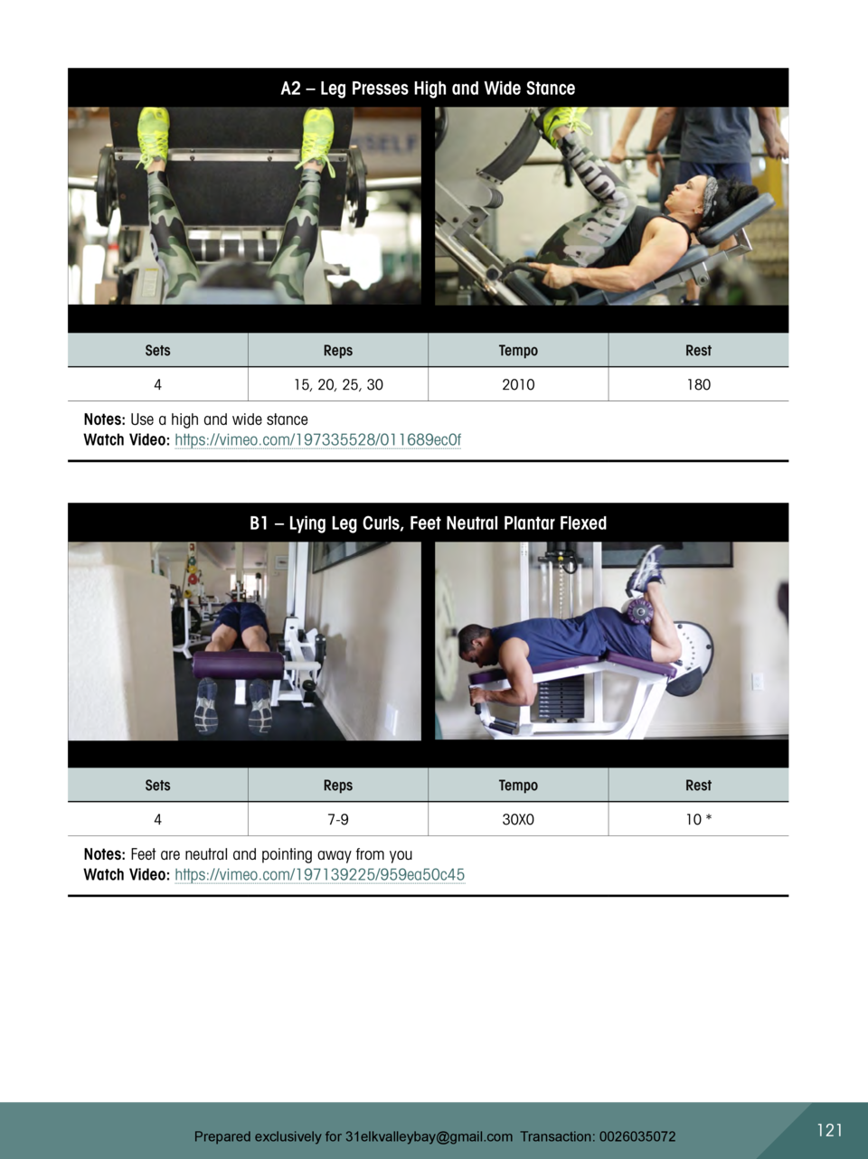 A2     Leg Presses High and Wide Stance  Sets  Reps  Tempo  Rest  4  15, 20, 25, 30  2010  180  Notes  Use a high and wide...