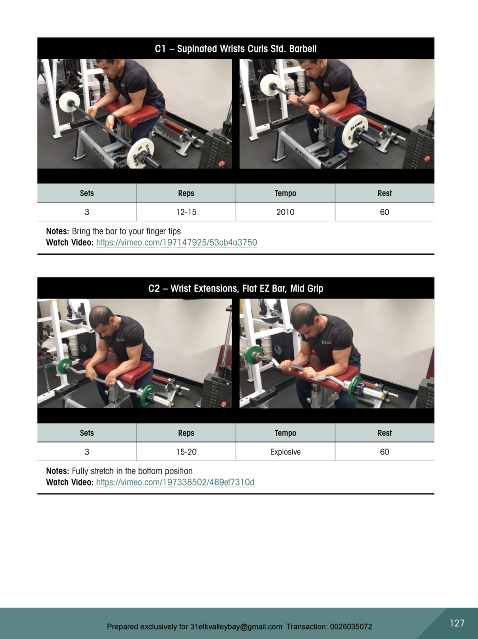 C1     Supinated Wrists Curls Std. Barbell  Sets  Reps  Tempo  Rest  3  12-15  2010  60  Notes  Bring the bar to your fing...