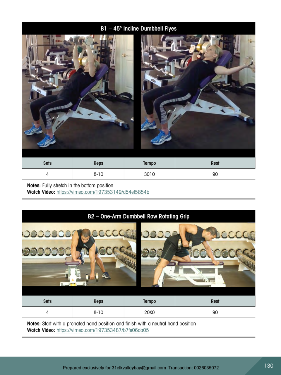 B1     45   Incline Dumbbell Flyes  Sets  Reps  Tempo  Rest  4  8-10  3010  90  Notes  Fully stretch in the bottom positio...
