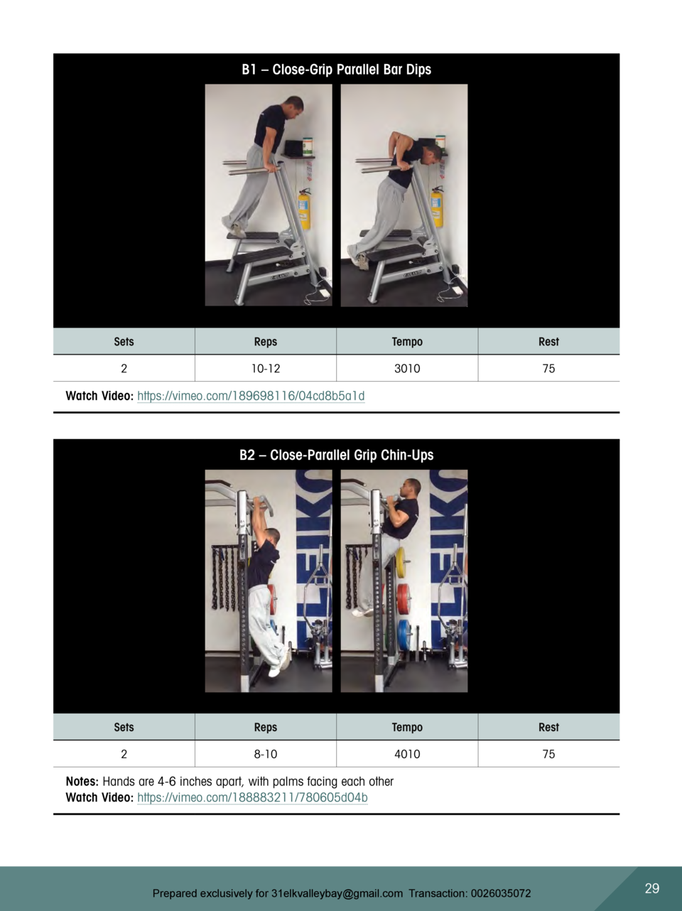 B1     Close-Grip Parallel Bar Dips  Sets  Reps  Tempo  Rest  2  10-12  3010  75  Watch Video  https   vimeo.com 189698116...