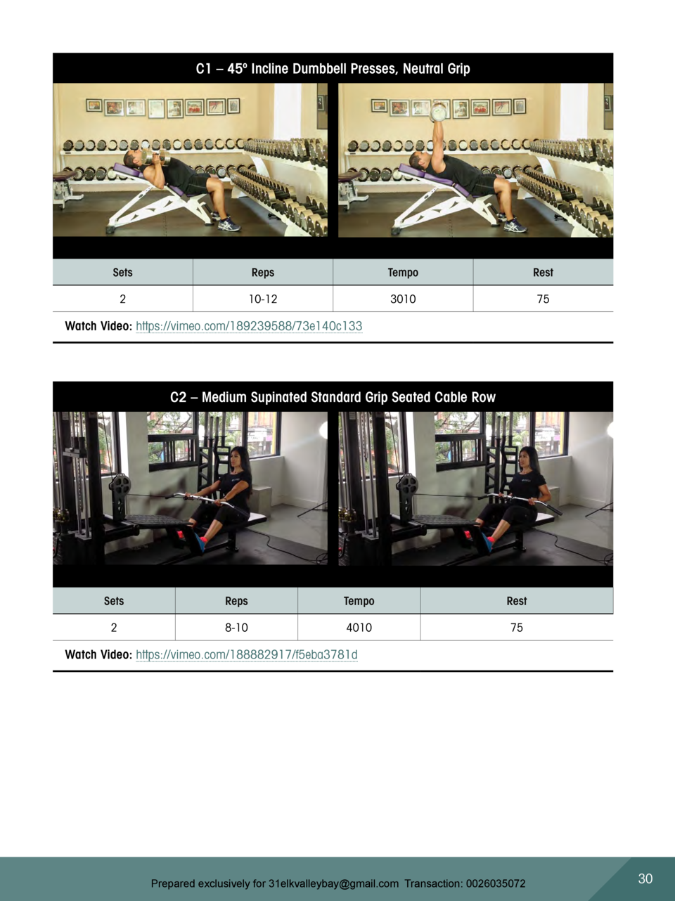 C1     45   Incline Dumbbell Presses, Neutral Grip  Sets  Reps  Tempo  Rest  2  10-12  3010  75  Watch Video  https   vime...