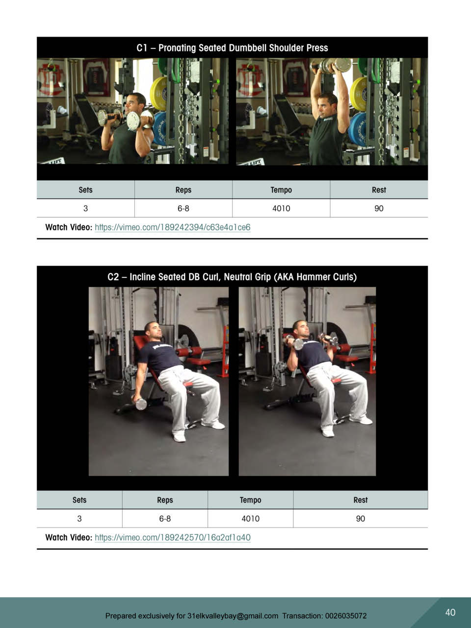 C1     Pronating Seated Dumbbell Shoulder Press  Sets  Reps  Tempo  Rest  3  6-8  4010  90  Watch Video  https   vimeo.com...