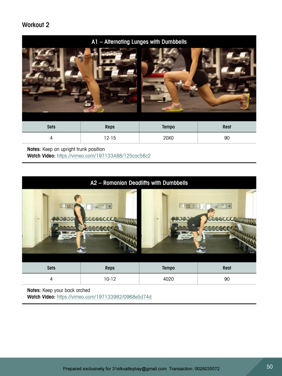 Workout 2 A1     Alternating Lunges with Dumbbells  Sets  Reps  Tempo  Rest  4  12-15  20X0  90  Notes  Keep an upright tr...