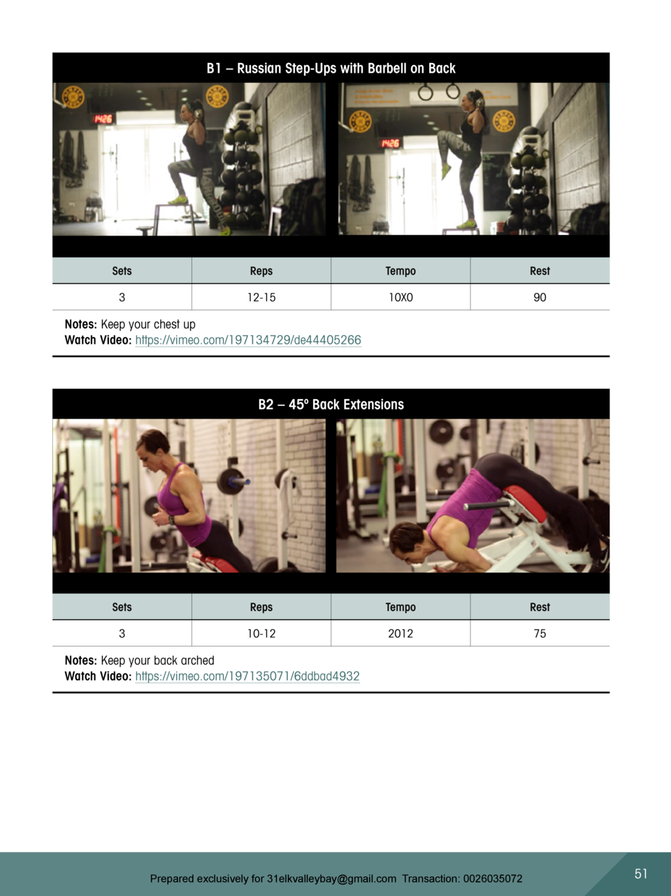 B1     Russian Step-Ups with Barbell on Back  Sets  Reps  Tempo  Rest  3  12-15  10X0  90  Notes  Keep your chest up Watch...