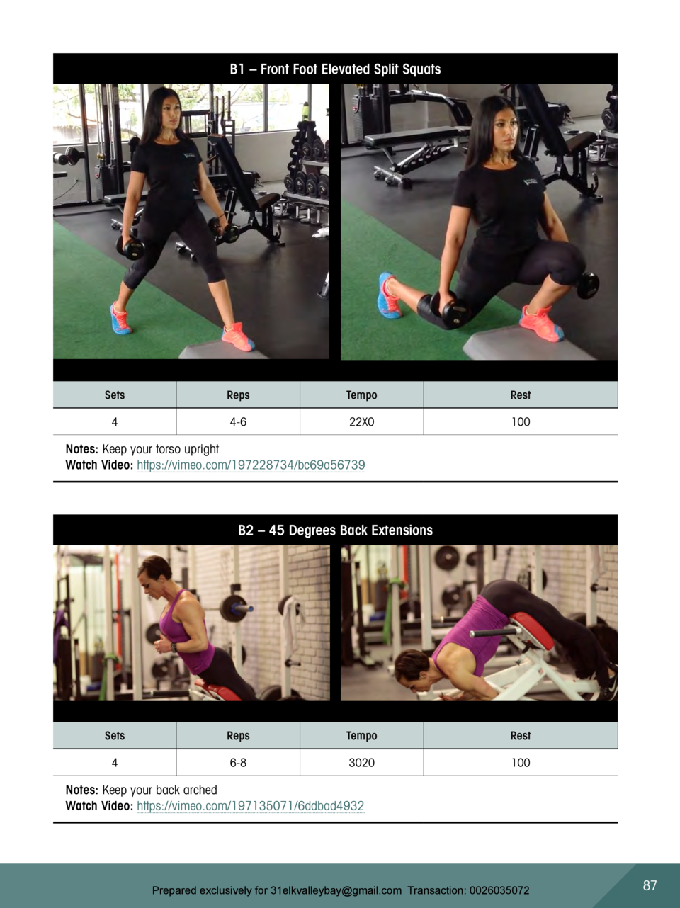 B1     Front Foot Elevated Split Squats  Sets  Reps  Tempo  Rest  4  4-6  22X0  100  Notes  Keep your torso upright Watch ...