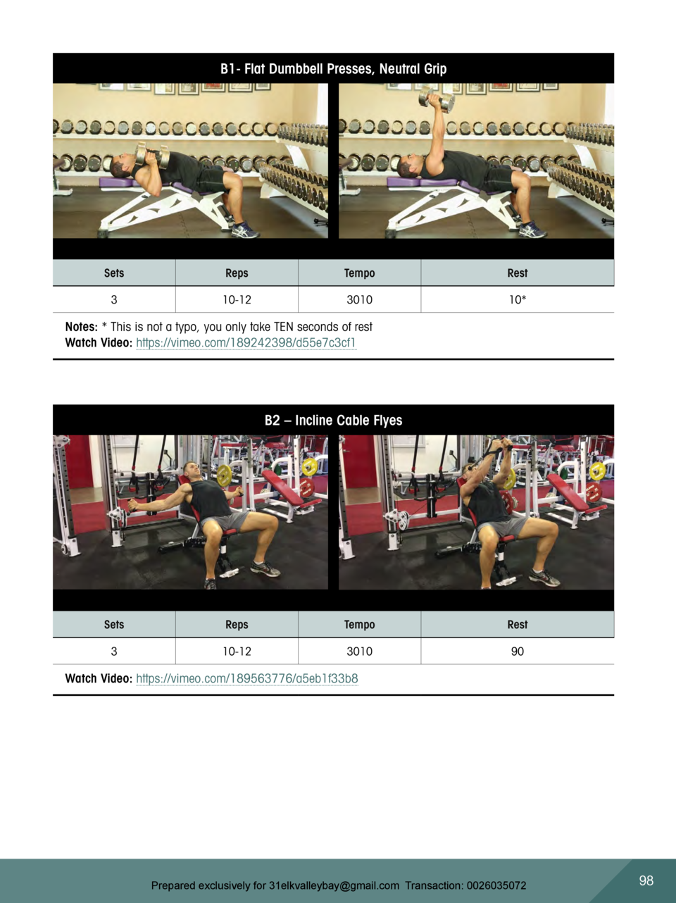 B1- Flat Dumbbell Presses, Neutral Grip  Sets  Reps  Tempo  Rest  3  10-12  3010  10   Notes    This is not a typo, you on...