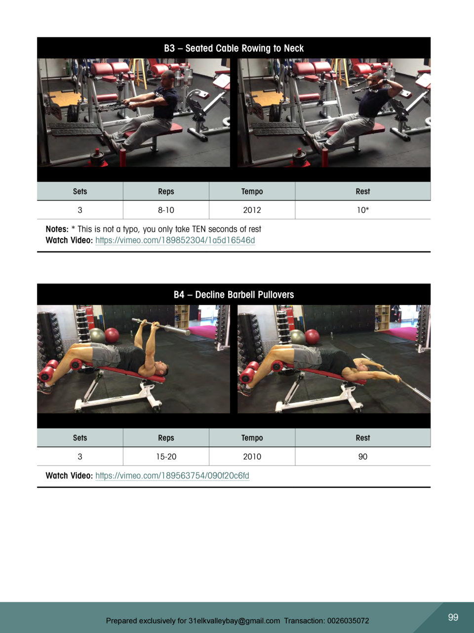 B3     Seated Cable Rowing to Neck  Sets  Reps  Tempo  Rest  3  8-10  2012  10   Notes    This is not a typo, you only tak...