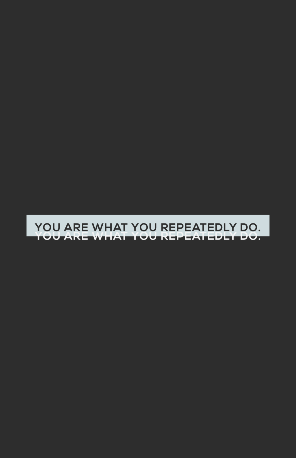 YOU ARE WHAT YOU REPEATEDLY DO. YOU ARE WHAT YOU REPEATEDLY DO.