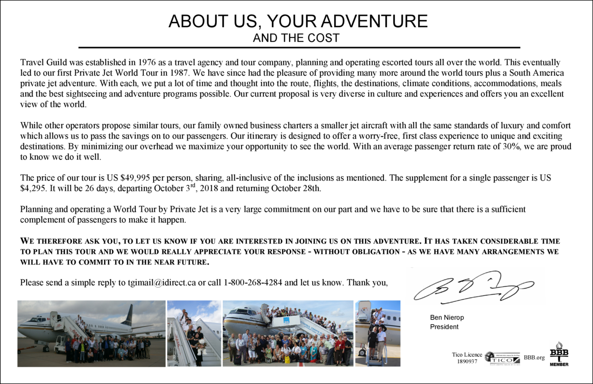 ABOUT US, YOUR ADVENTURE AND THE COST Travel Guild was established in 1976 as a travel agency and tour company, planning a...
