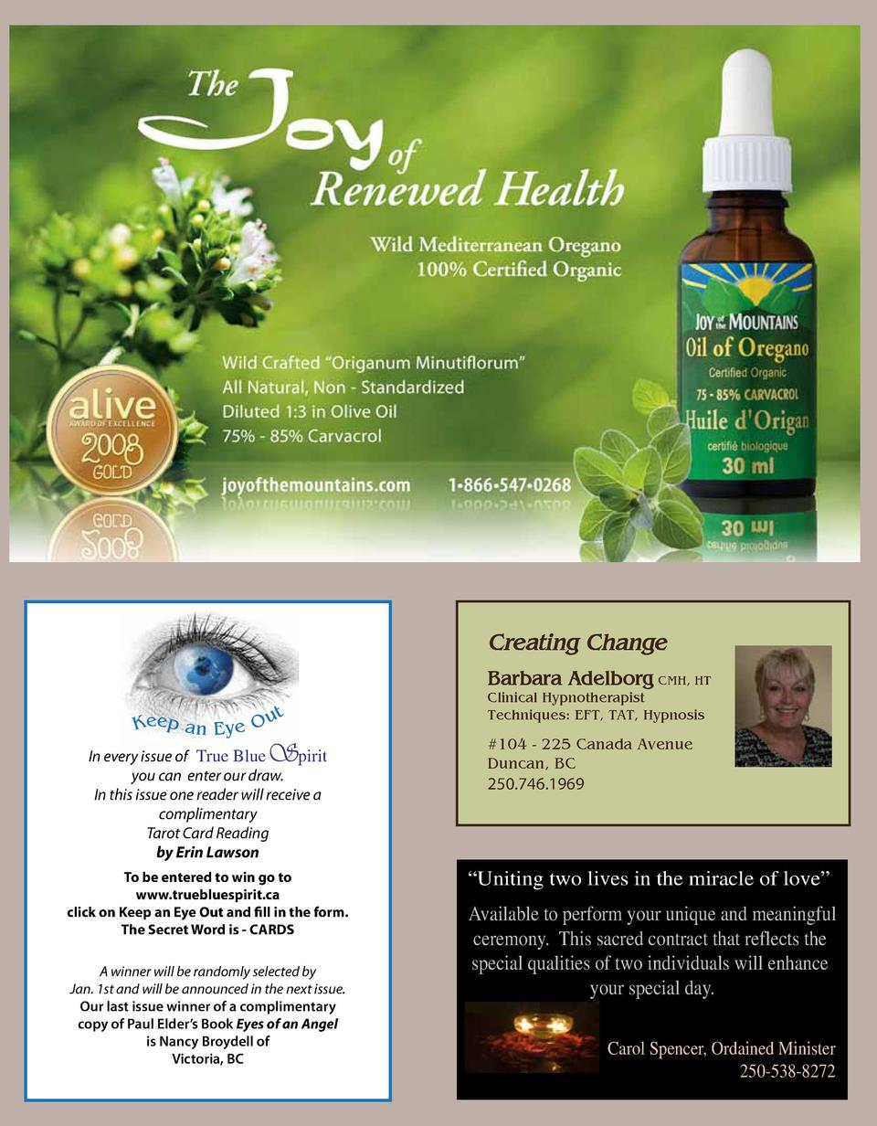 Creating Change Barbara Adelborg CMH, HT ut  Clinical Hypnotherapist Techniques  EFT, TAT, Hypnosis  S   104 - 225 Canada ...