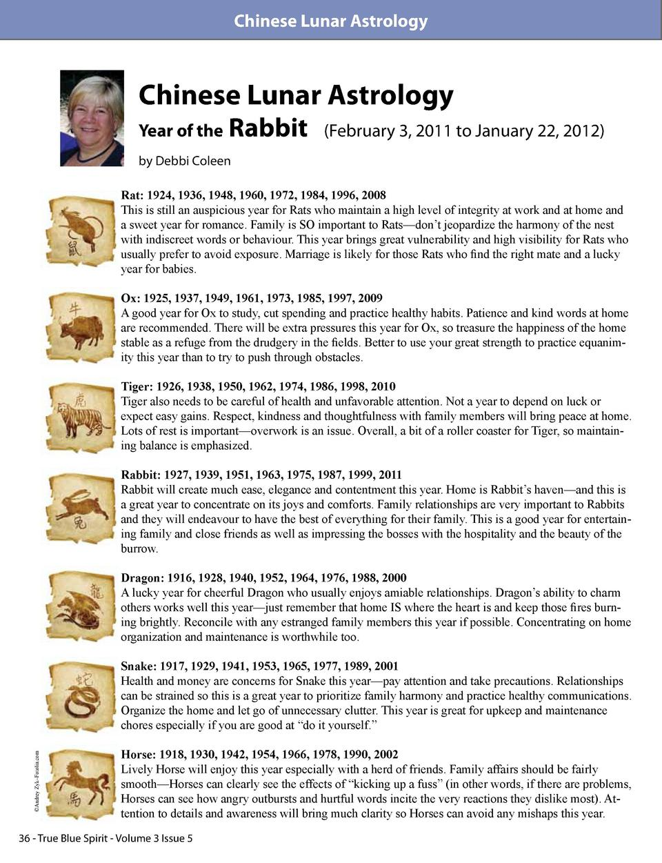 Chinese Lunar Astrology  Chinese Lunar Astrology Year of the  Rabbit   February 3, 2011 to January 22, 2012   by Debbi Col...