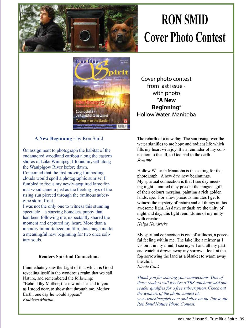 RON SMID Cover Photo Contest Cover photo contest from last issue with photo    A New Beginning    Hollow Water, Manitoba  ...