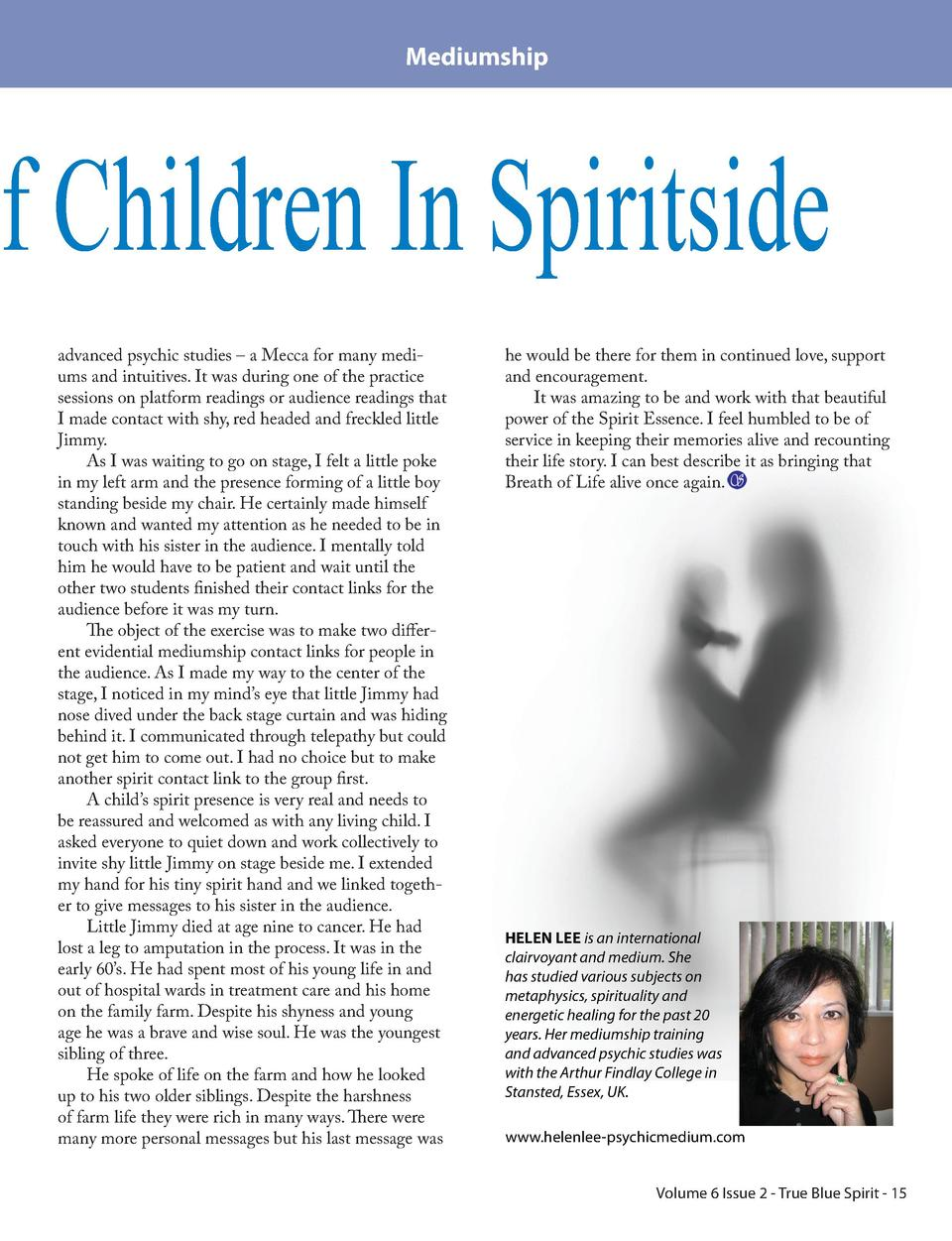 Mediumship  Of Children In Spiritside advanced psychic studies     a Mecca for many mediums and intuitives. It was during ...