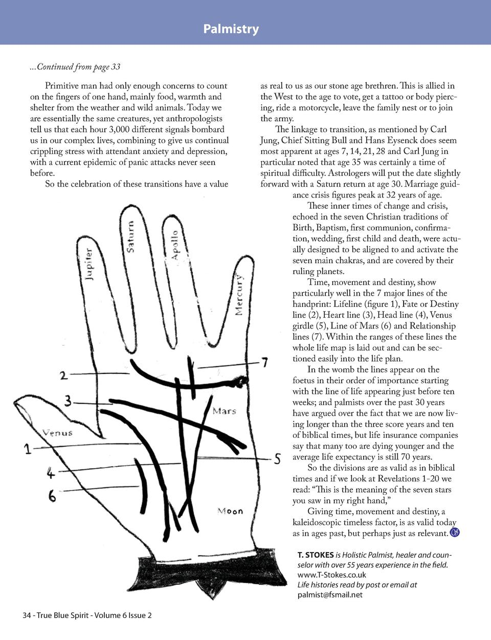 Palmistry ...Continued from page 33 Primitive man had only enough concerns to count on the fingers of one hand, mainly foo...