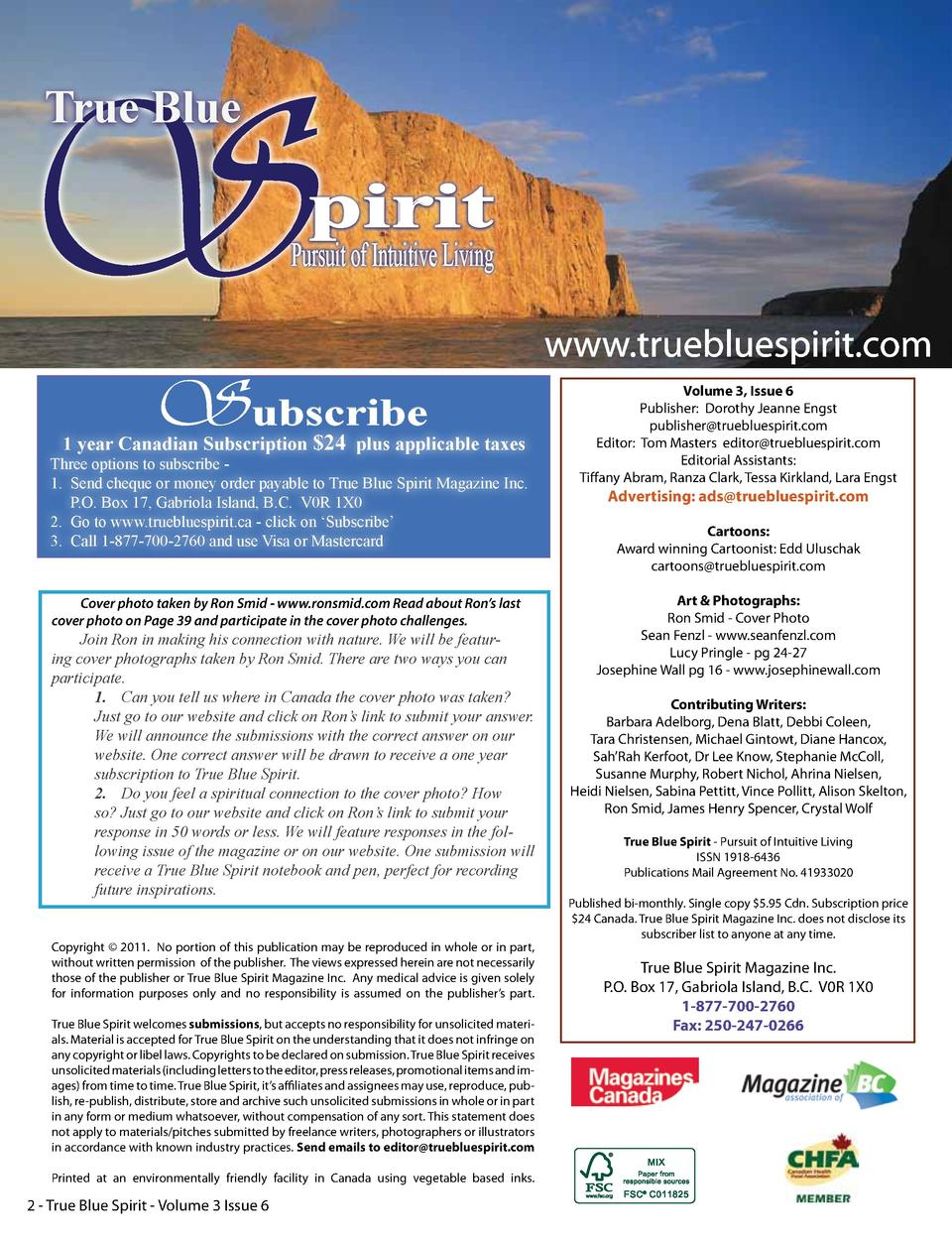 S True Blue  pirit  Pursuit of Intuitive Living  Subscribe  1 year Canadian Subscription  24 plus applicable taxes  Three ...
