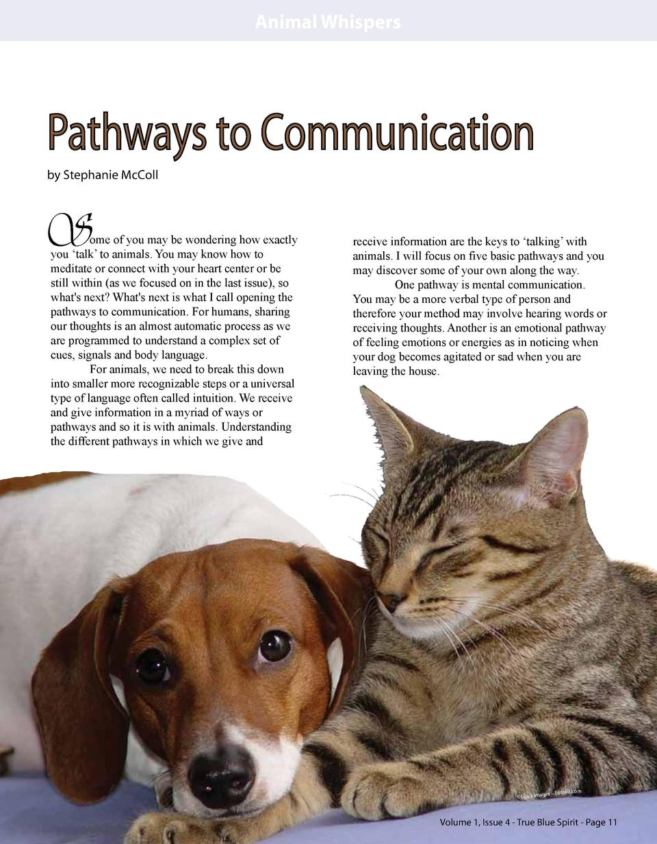 Animal Whispers  Pathways to Communication by Stephanie McColl  S  ome of you may be wondering how exactly you    talk    ...