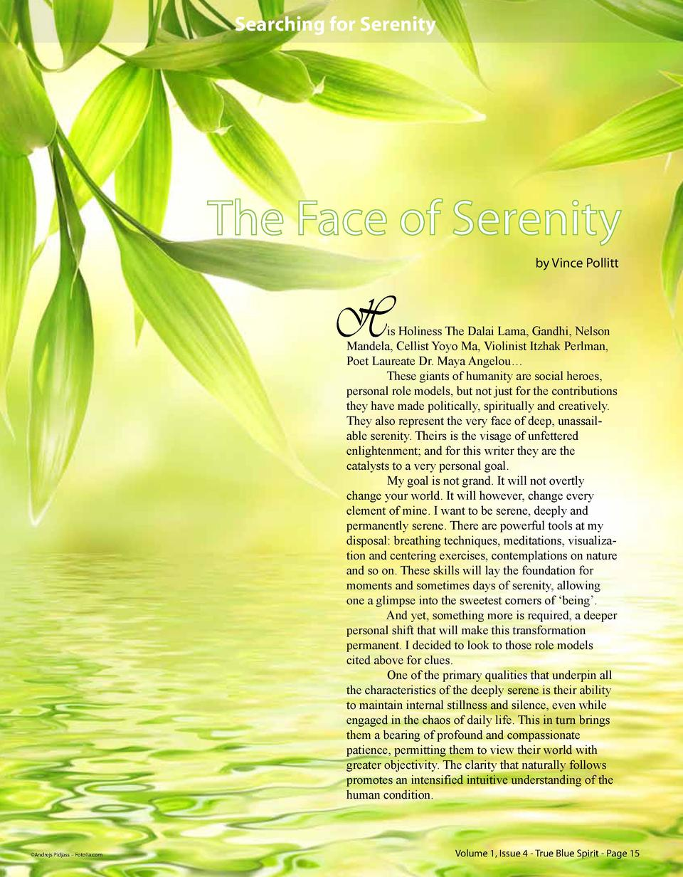 Searching for Serenity  The Face of Serenity by Vince Pollitt  H  is Holiness The Dalai Lama, Gandhi, Nelson Mandela, Cell...