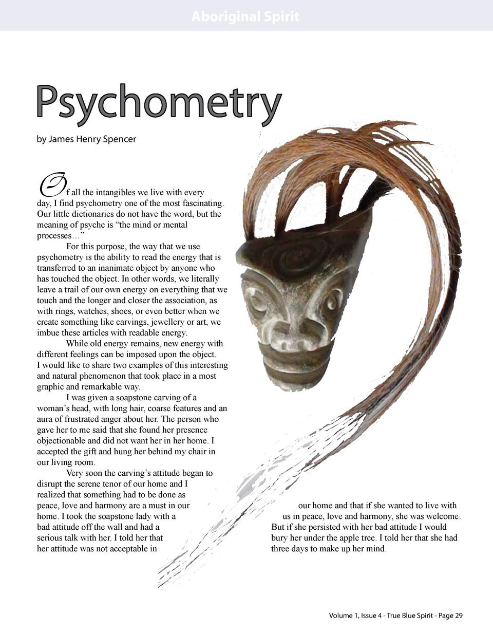 Aboriginal Spirit  Psychometry by James Henry Spencer  O  our home and that if she wanted to live with us in peace, love a...
