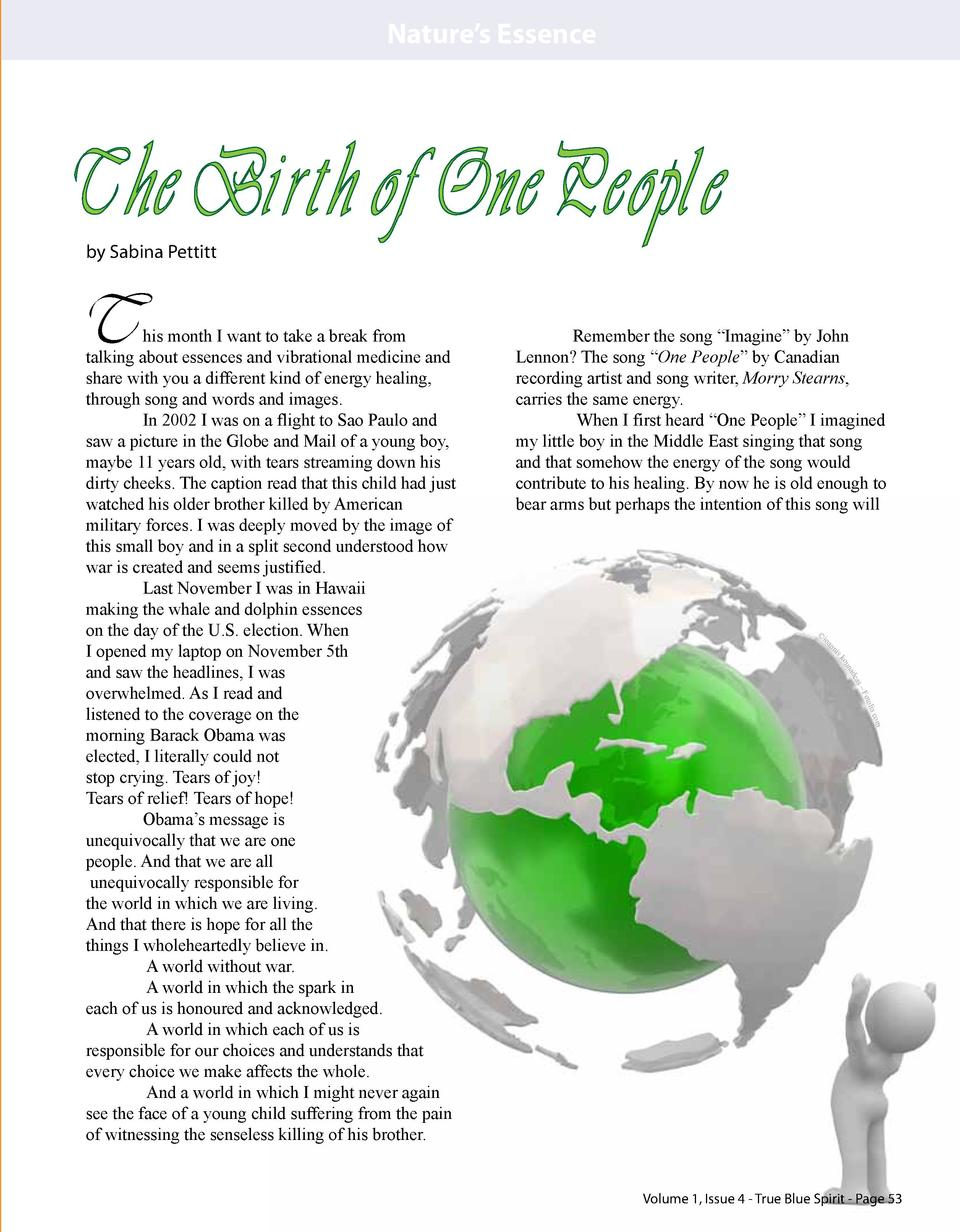 Nature   s Essence  The Birth of One People by Sabina Pettitt  T  Remember the song    Imagine    by John Lennon  The song...
