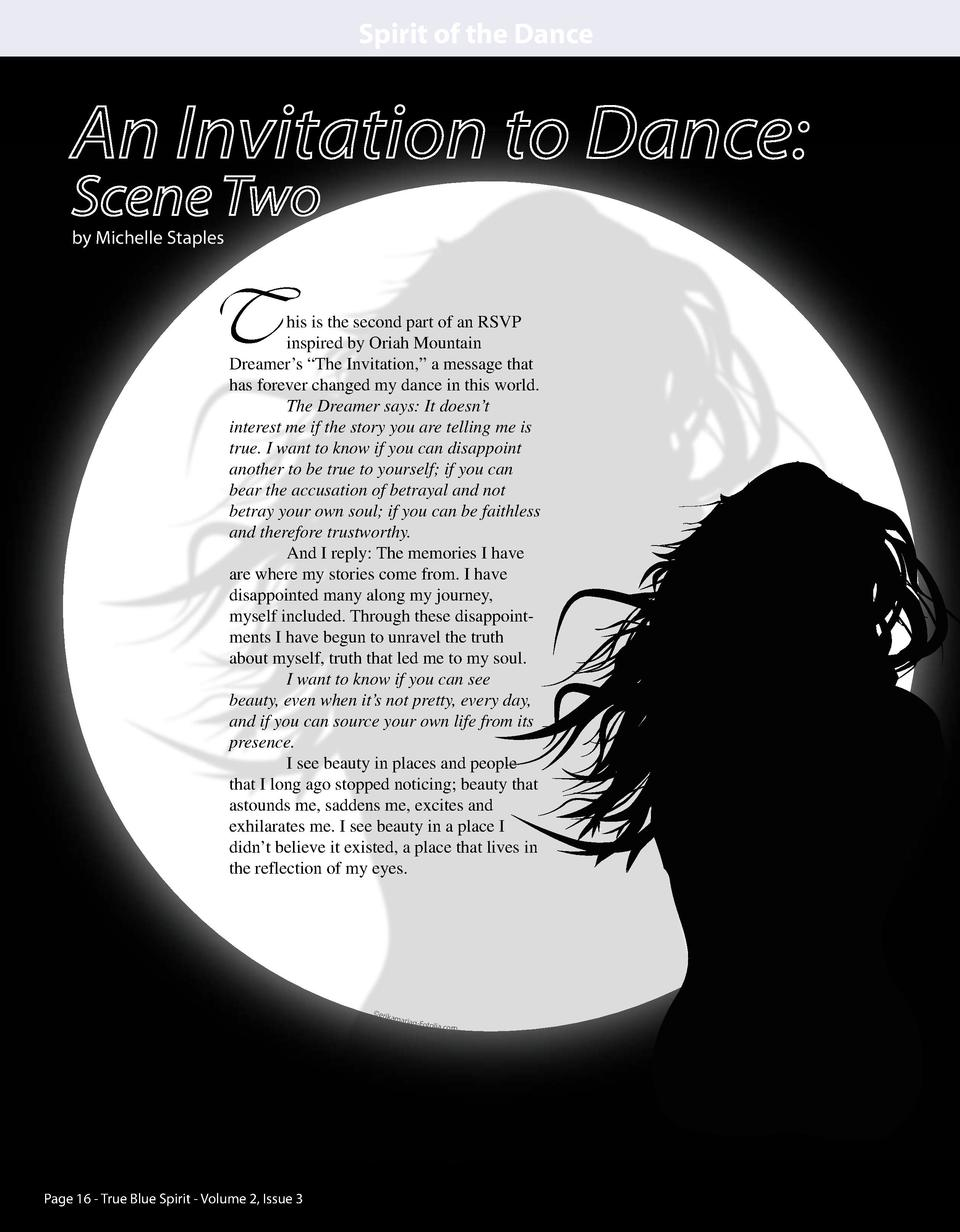 Spirit of the Dance  An Invitation to Dance  Scene Two by Michelle Staples  T  his is the second part of an RSVP inspired ...