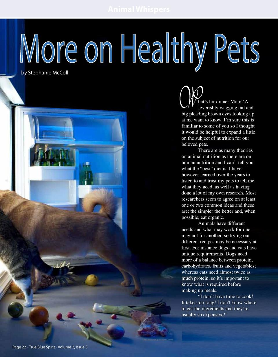 Animal Whispers  More on Healthy Pets by Stephanie McColl  W  hat   s for dinner Mom  A feverishly wagging tail and big pl...