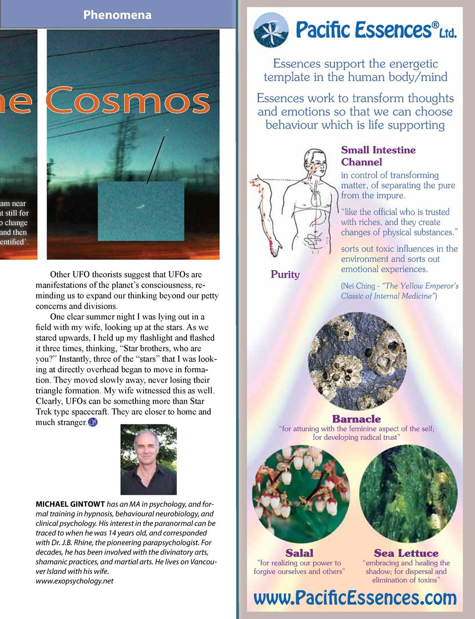 Phenomena  he Cosmos  Paciic Essences  Ltd. Essences support the energetic template in the human body mind Essences work t...