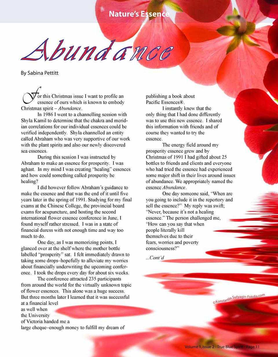 Nature   s Essence  Abundance By Sabina Pettitt  F  or this Christmas issue I want to profile an essence of ours which is ...