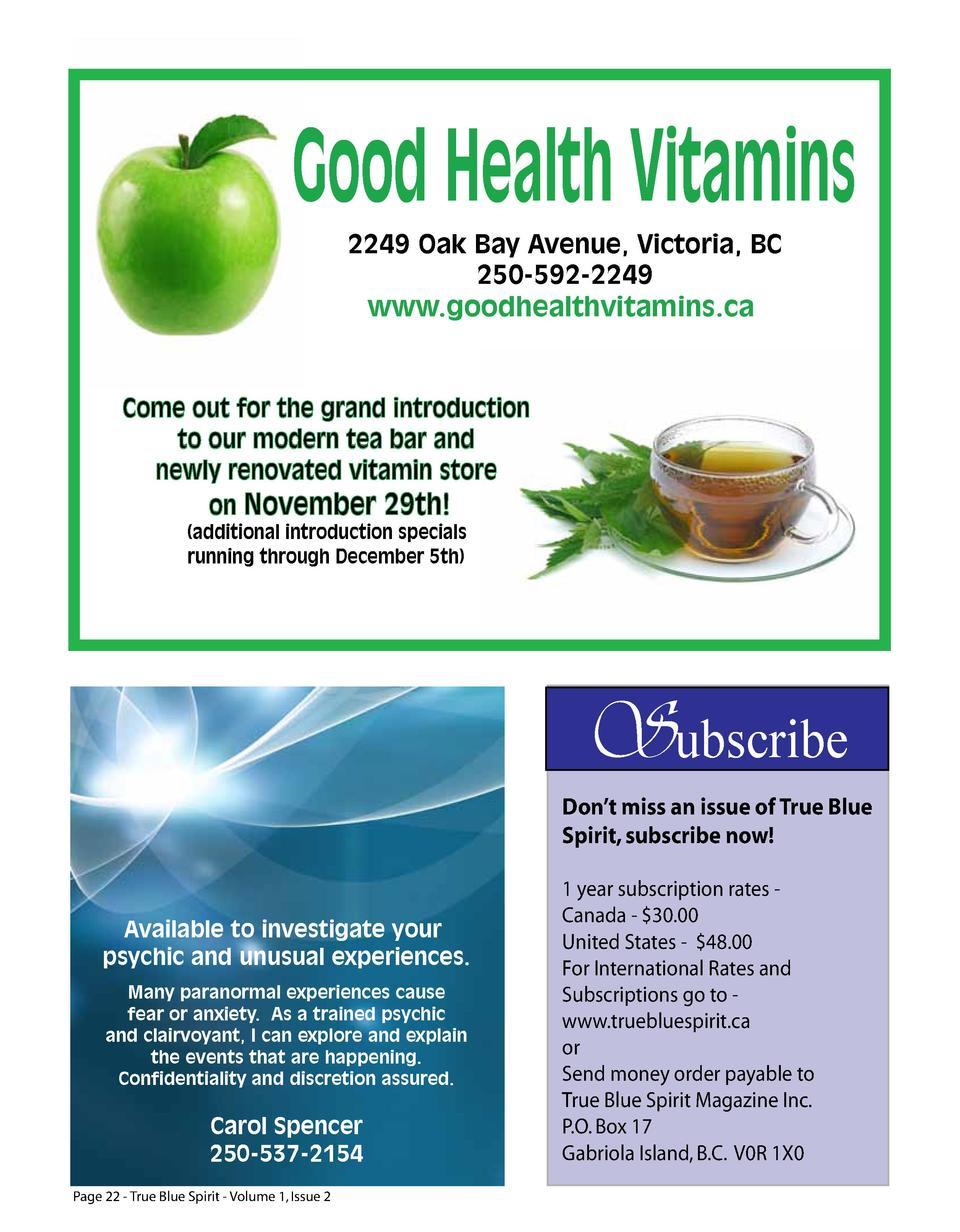 Good Health Vitamins 2249 Oak Bay Avenue, Victoria, BC 250-592-2249  www.goodhealthvitamins.ca  Come out for the grand int...