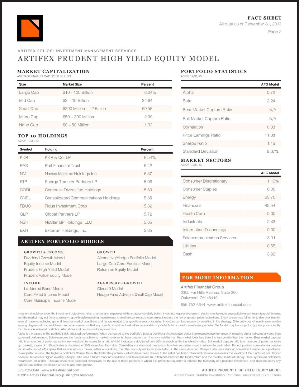FAC T SHEET All data as of December 31, 2013 Page 2  ARTIFEX PRUDENT HIGH YIELD EQUITY MODEL MARK ET CAP I TA LIZ A T IO N...