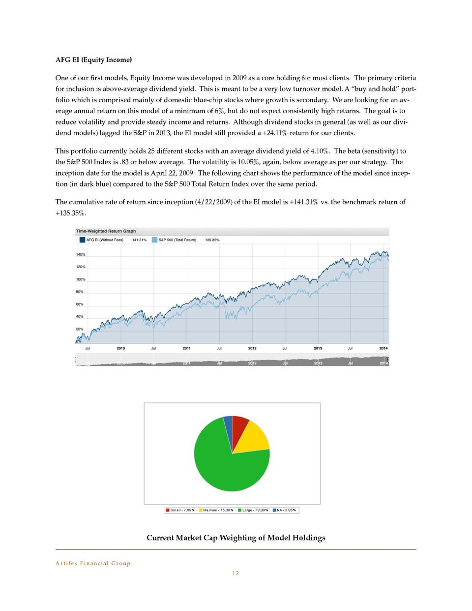 AFG EI  Equity Income   One of our    rst models, Equity Income was developed in 2009 as a core holding for most clients. ...