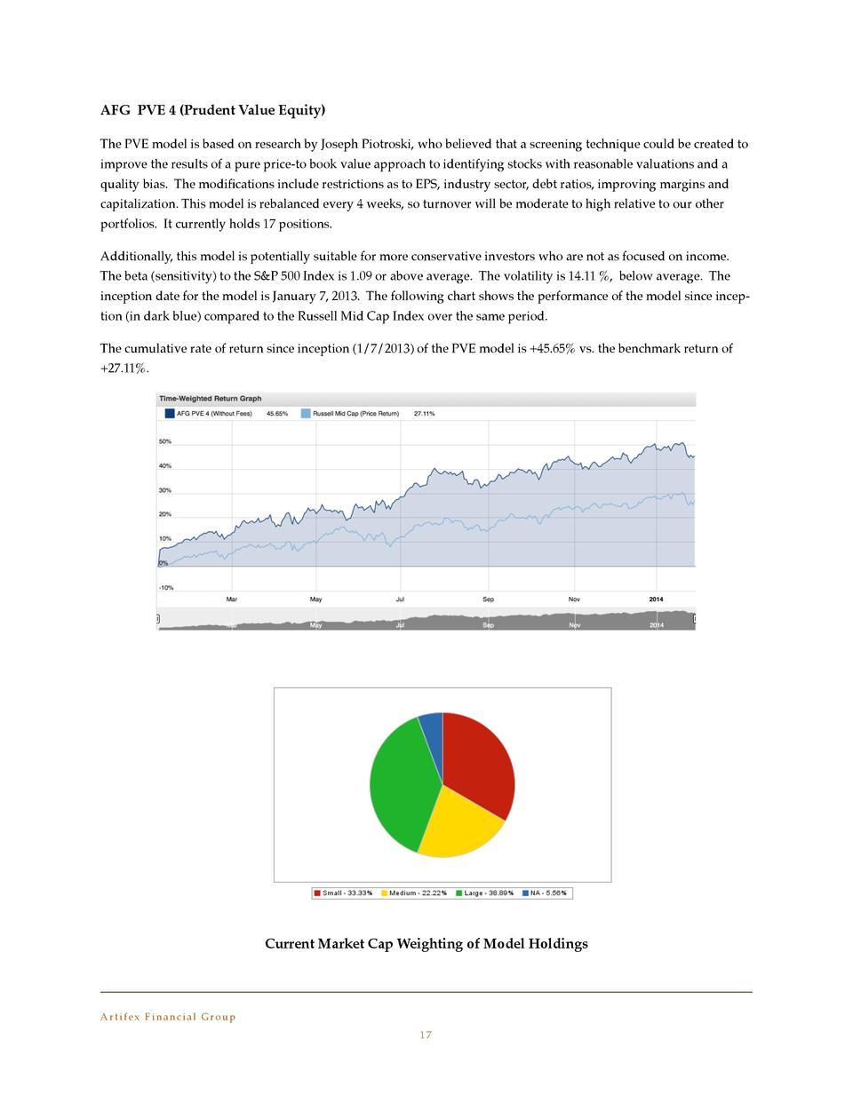 AFG PVE 4  Prudent Value Equity   The PVE model is based on research by Joseph Piotroski, who believed that a screening te...