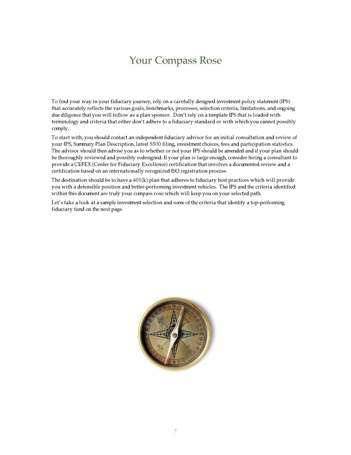 Your Compass Rose  To find your way in your fiduciary journey, rely on a carefully designed investment policy statement  I...