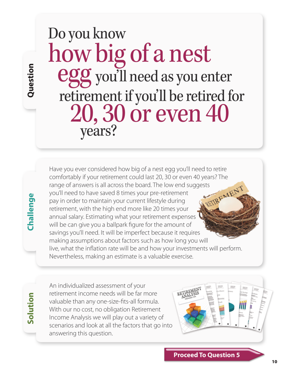 Challenge  how big of a nest egg you   ll need as you enter retirement if you   ll be retired for 20, 30 or even 40 years ...