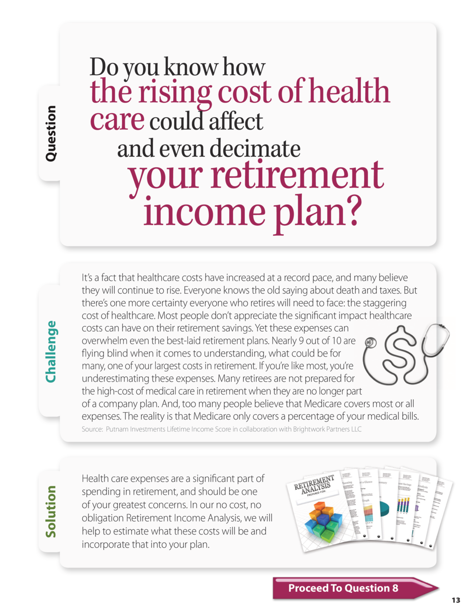 Challenge  Question  Do you know how  the rising cost of health care could affect and even decimate  your retirement incom...