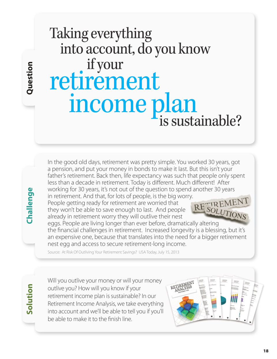 Question Challenge  Taking everything into account, do you know if your  retirement income plan is sustainable  In the goo...
