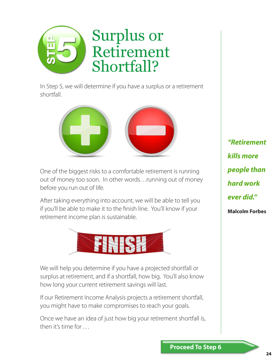 Surplus or Retirement Shortfall  In Step 5, we will determine if you have a surplus or a retirement shortfall.     Retirem...