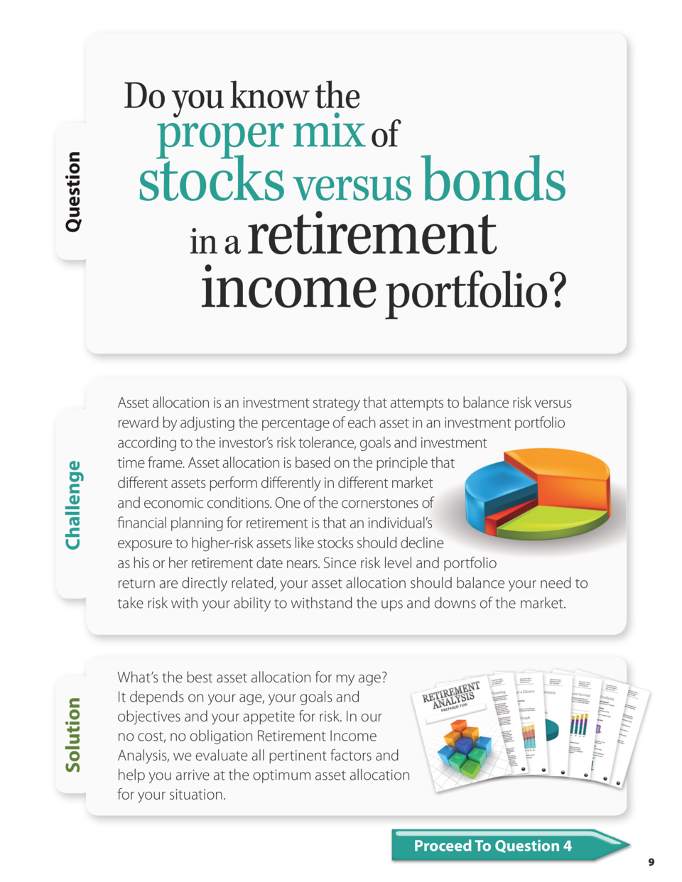 proper mix of stocks versus bonds  retirement income portfolio   Challenge  in a  Asset allocation is an investment strate...