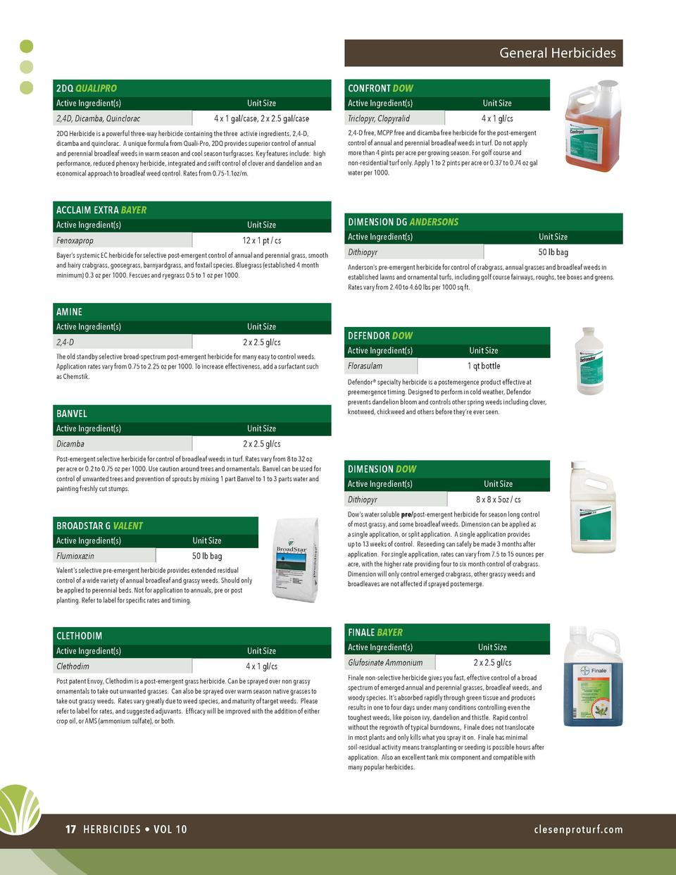 General Herbicides CONFRONT DOW  2DQ QUALIPRO Unit Size  Active Ingredient s   Unit Size  4 x 1 gal case, 2 x 2.5 gal case...
