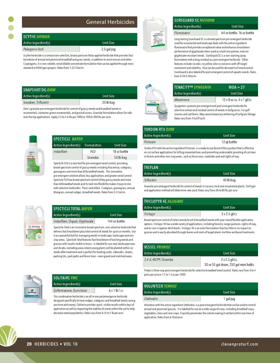 SUREGUARD SC NUFARM  General Herbicides  Active Ingredient s   Unit Size 64 oz bottle, 16 oz bottle  Flumioxazin  SCYTHE G...