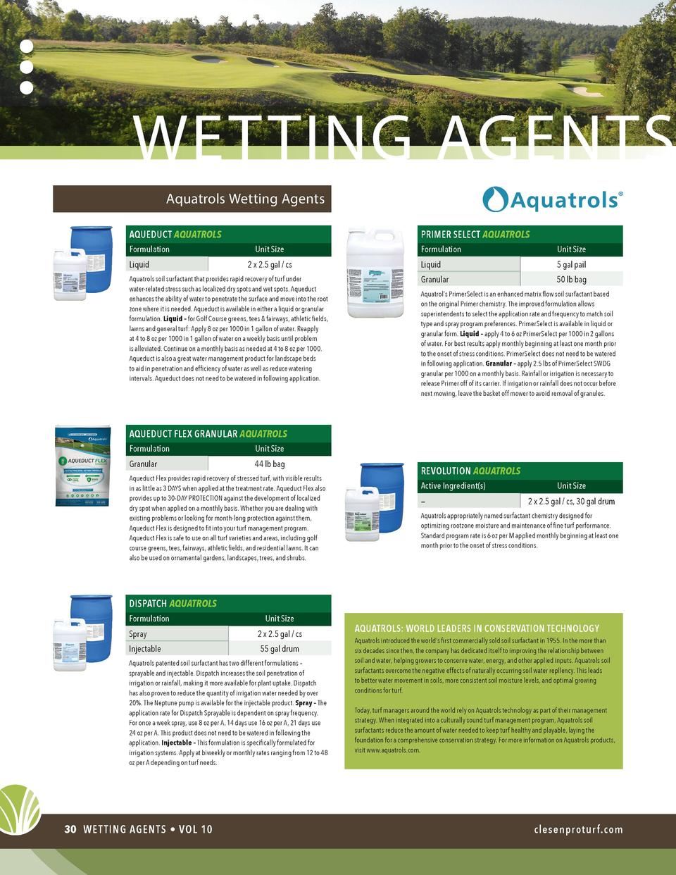 wetting agents Aquatrols Wetting Agents AQUEDUCT AQUATROLS Formulation Liquid  PRIMER SELECT AQUATROLS Unit Size 2 x 2.5 g...